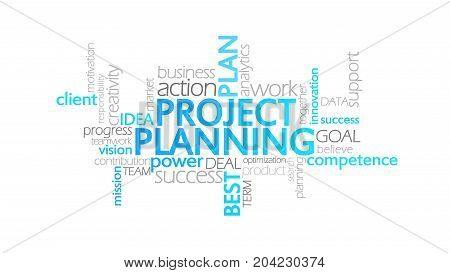 Project Planning, Animated Typography, Word Cloud Concept Illustration