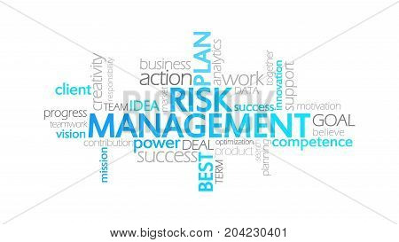 Risk Management, Animated Typography, Word Cloud Concept Illustration