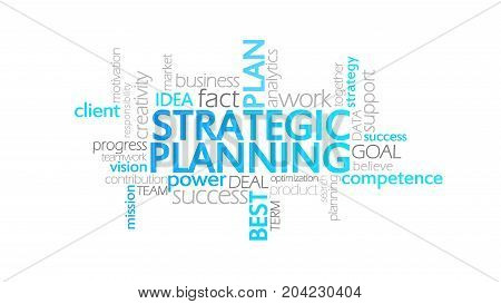 Strategic Planning, Animated Typography, Word Cloud Concept Illustration