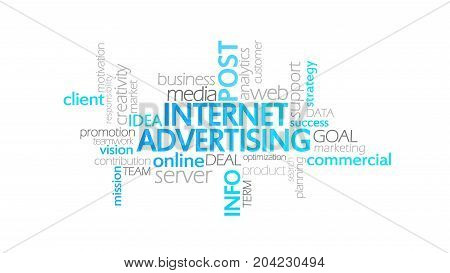 Internet Advertising, Animated Typography, Word Cloud Concept Illustration