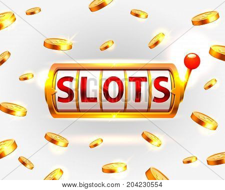Golden slots machine wins the jackpot. Vector illustration isolated on white background . Vector illustration