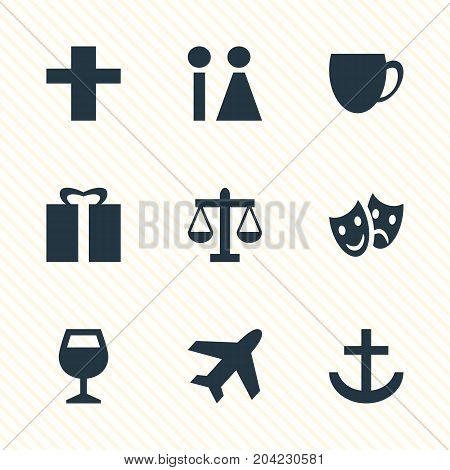 Editable Pack Of Masks, Present, Scales And Other Elements.  Vector Illustration Of 9 Check-In Icons.
