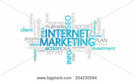 Internet Marketing, Animated Typography, Word Cloud Concept Illustration
