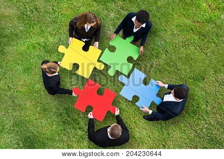 Elevated View Of Business People Holding Colorful Puzzle On Green Grass