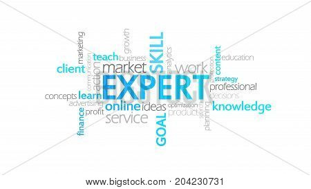 Expert, Typography Animation, Word Cloud Concept Illustration