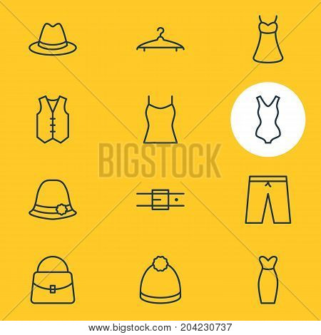 Editable Pack Of Singlet, Cloakroom, Waistcoat And Other Elements.  Vector Illustration Of 12 Clothes Icons.