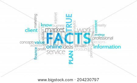 Facts, Typography Animation, Word Cloud Concept Illustration