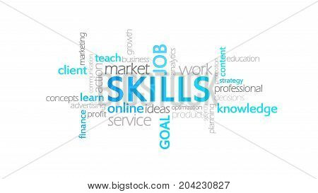 Skills, Typography Animation, Word Cloud Concept Illustration