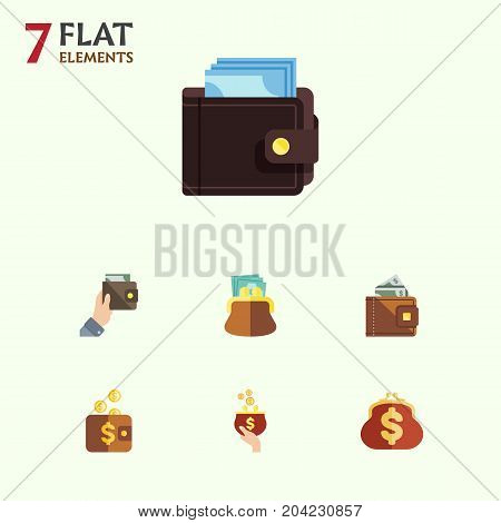 Flat Icon Wallet Set Of Billfold, Purse, Pouch And Other Vector Objects