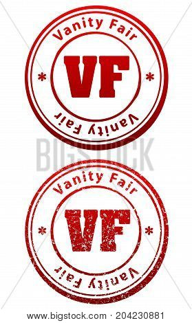 Pair Of Red Rubber Stamps In Grunge And Solid Style With Caption Vanity Fair And Abbreviation Vf