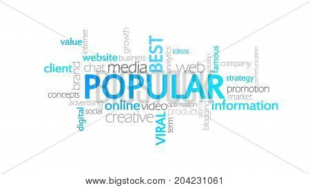Popular, Animated Typography, Word Cloud Concept Illustration