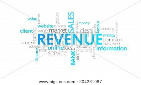 Revenue, Animated Typography, Word Cloud Concept Illustration