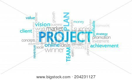 Project, Animated Typography, Word Cloud Concept Illustration