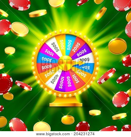 Colorful fortune wheel wins the jackpot. Piles of gold coins. Vector illustration isolated on green background