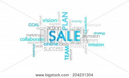 Sale, Typography Animation, Word Cloud Concept Illustration