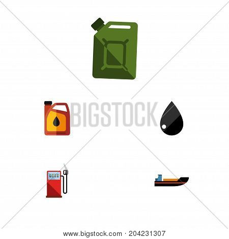 Flat Icon Petrol Set Of Petrol, Droplet, Jerrycan And Other Vector Objects