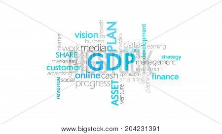 Gdp, Gross Domestic Product, Word Cloud Concept Illustration