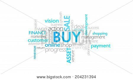 Buy, Typography Animation, Word Cloud Concept Illustration
