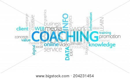 Coaching, Animated Typography, Word Cloud Concept Illustration
