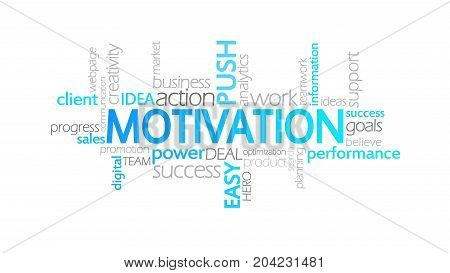 Motivation, Animated Typography, Word Cloud Concept Illustration