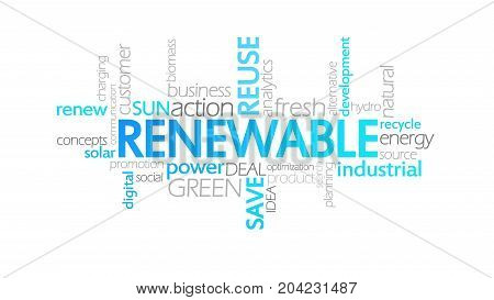 Renewable, Animated Typography, Word Cloud Concept Illustration