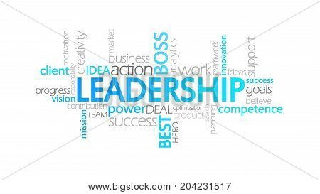 Leadership, Animated Typography, Word Cloud Concept Illustration