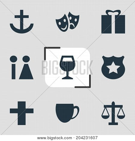 Editable Pack Of Cross, Toilet, Cop And Other Elements.  Vector Illustration Of 9 Map Icons.