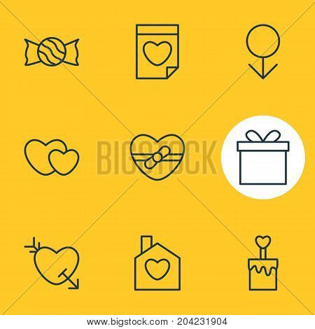 Editable Pack Of Valentine, Home, Lollipop And Other Elements.  Vector Illustration Of 9 Passion Icons.