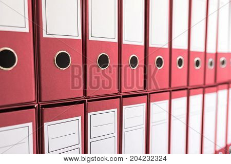 Binder folders in shelf binders in a row.