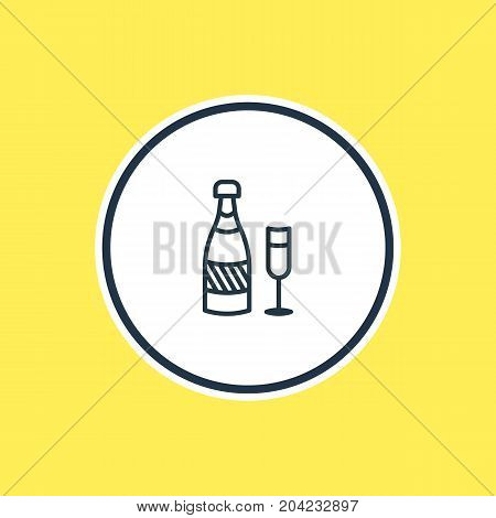 Beautiful Banquet Element Also Can Be Used As Fizz Element.  Vector Illustration Of Champagne Outline.