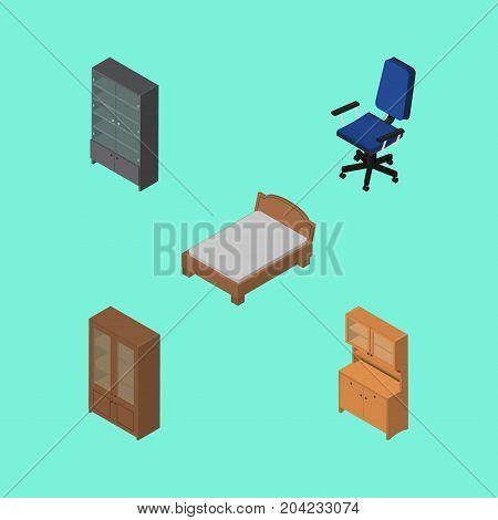 Isometric Design Set Of Sideboard, Cupboard, Cabinet And Other Vector Objects