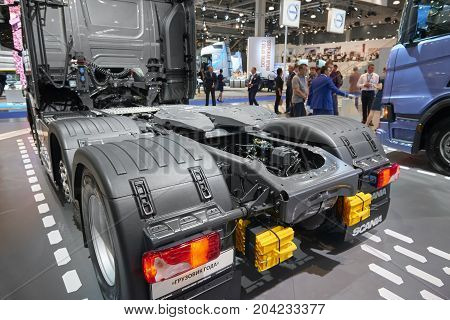 MOSCOW, SEP, 5, 2017: View on Scania truck back chassis with equipment and back lights. Scania trucks on Commercial Transport Exhibition ComTrans-2017