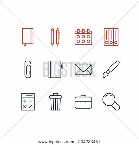 Editable Pack Of Archive, Zoom, Date And Other Elements.  Vector Illustration Of 12 Instruments Icons.