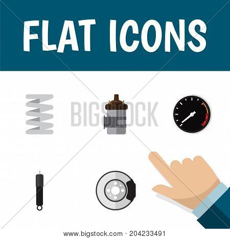 Flat Icon Auto Set Of Absorber, Crankshaft, Tachometr And Other Vector Objects