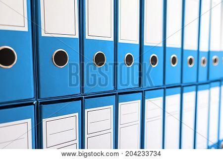 Binder Folders In Shelf, Binders In A Row.