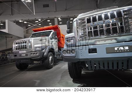 MOSCOW, SEP, 5, 2017: View on serial off-road URAL mud truck for hard to reach areas. Off road trucks for civil and military cargo transportation. Commercial Transport Exhibition ComTrans-2017