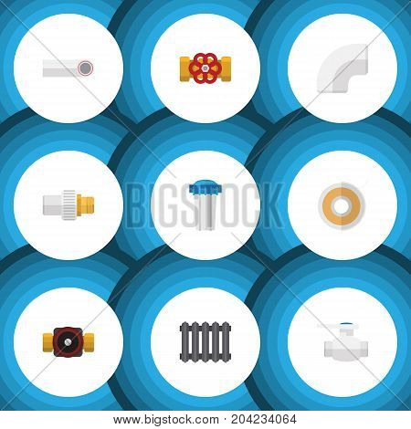 Flat Icon Industry Set Of Roll, Pump Valve, Tap And Other Vector Objects