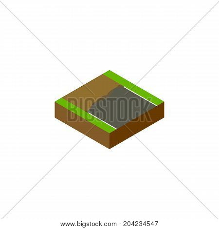 Incomplete Vector Element Can Be Used For Incomplete, Unfinished, Road Design Concept.  Isolated Unfinished Isometric.