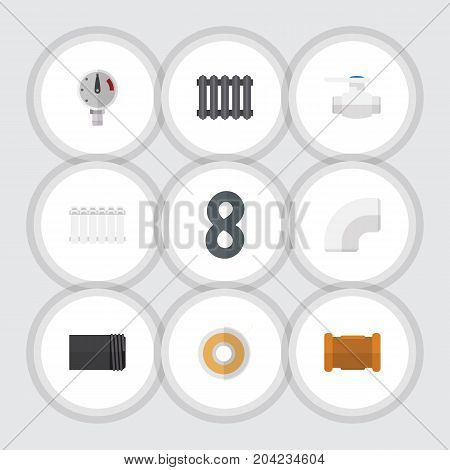 Flat Icon Plumbing Set Of Roll, Heater, Pipe And Other Vector Objects