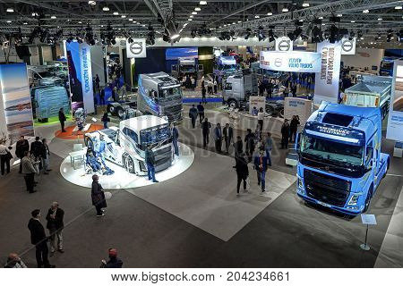 MOSCOW, SEP, 5, 2017: View on cars trucks exhibits on Commercial Transport Exhibition ComTrans-2017. Automobile industry new concepts models. Trucks buses cars custom vehicles exhibition stands