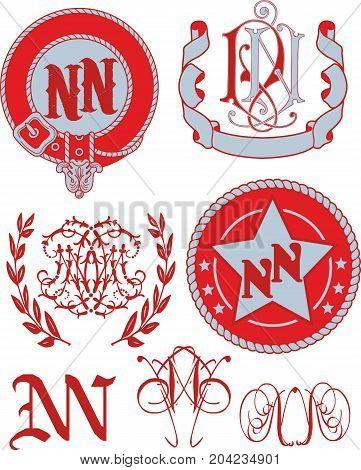 Set Of Nn Monograms And Emblem Templates