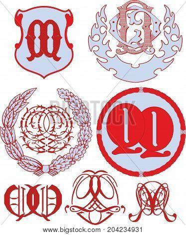 Set Of Qq Monograms And Emblem Templates
