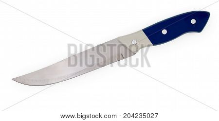 Inexpensive Kitchen Knife With White-blue Handle Isolated On White Background, Close Up