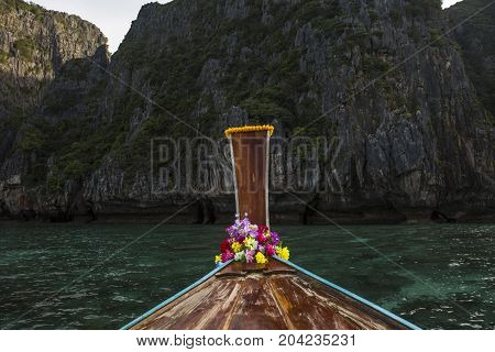 Sea View With Traditional Longtail Boats At Phi Phi Island Thailand