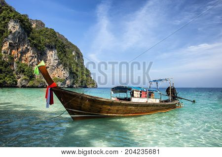Traditional Longtail Boats In Bay Of Phi-phi Island, Thailand