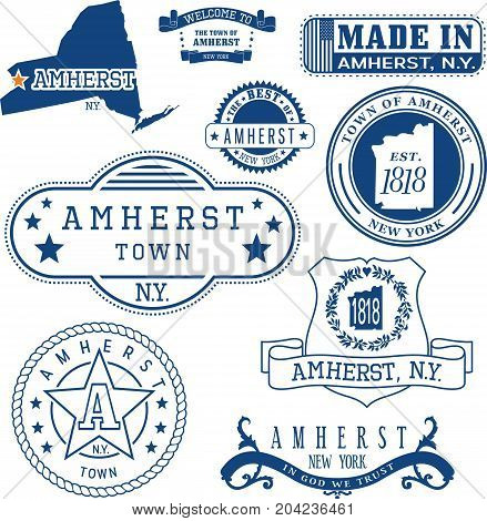 Set Of Generic Stamps And Signs Of Amherst, Ny