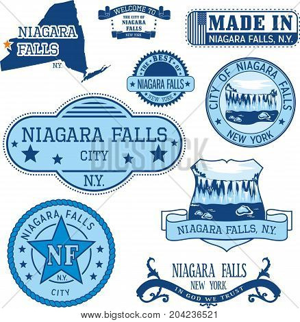 Set Of Generic Stamps And Signs Of Niagara Falls, Ny