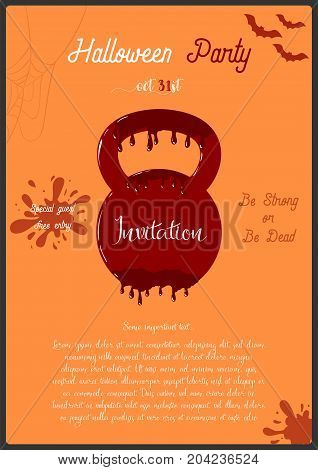 Vector template of Halloween party invitation card. Concept with bloody kettlebell on the orange background.