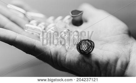 .glass Pipes For Smoking Close-up Soft Focus. Smoking Marijuana Through Beautiful Colored Glass Pipe