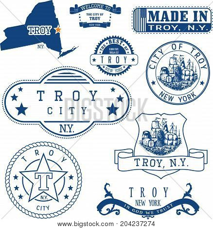 Set Of Generic Stamps And Signs Of Troy, Ny